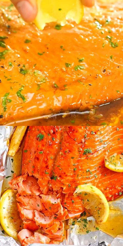 Honey Garlic Salmon made with salmon fillet and honey garlic marinade. This recipe takes only 10 minutes active time and five key ingredients. A weeknight dinner staple if you love salmon | easyweeknight.com Easy Weeknight #salmon    You ate your breakfast and lunch until you were full and by choosing foods with plenty of energy. Moreover, instead of bread, you ate it with a more calorie cookie. Especially what you eat at breakfast will be digested when the d... #Foil #Garlic #Honey #Salmon