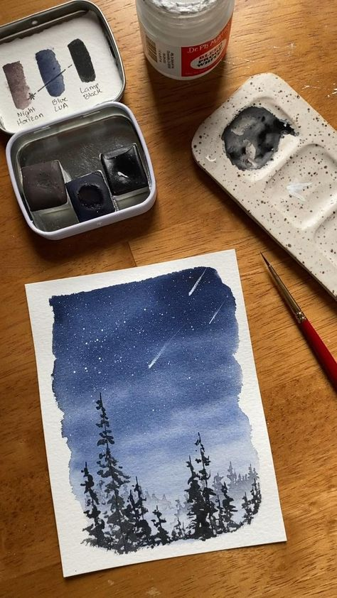 A stunning landscape perfect for watercolor beginners! You can paint this luminous night sky, even if you're just starting on your watercolor journey ✨ Try out my Skillshare class with a free trial!