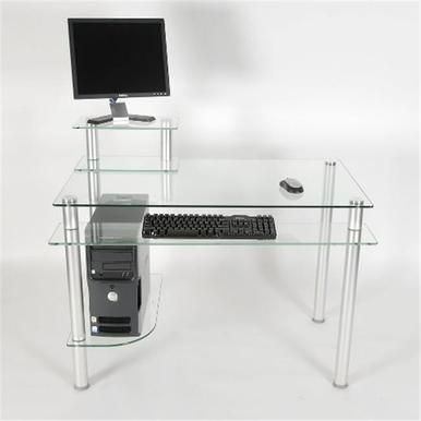 Rta Home And Office Ct 009 Clear Glass And Aluminum Computer Desk