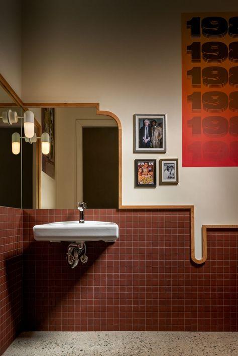 Blue trim and terracotta tiles enliven Vancouver tapas joint by Ste Marie Restaurant Interior Design, Home Interior, Interior Architecture, Interior And Exterior, Modern Restaurant, Restaurant Bathroom, Restaurant Restaurant, Interior Livingroom, Interior Plants