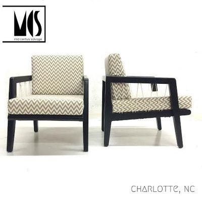 Pair Of Stunning Lounge Chairs Designed By Edward Wormley For Drexel Custom  New Chevron Upholstery,