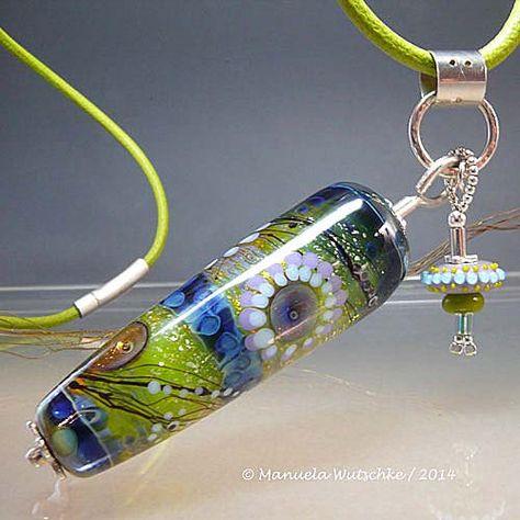 Necklace - Artist Lampwork Glass, Silver and Leather Pendant by Manuela Wutschke - Winter Sun - Handmade Artist Jewelry