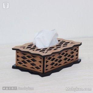 علبة مناديل خشب حفر ليزر باللونين الاسود مع الجملى Tissue Boxes Tissue Wood Colors