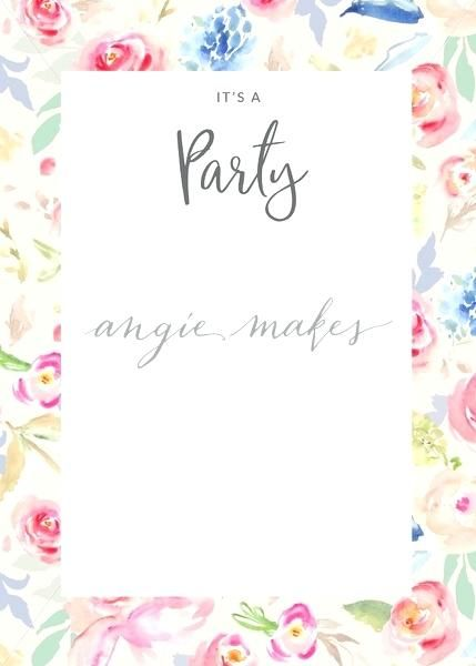 Floral Invitation Template Painted Flowers Party Invitation Blank