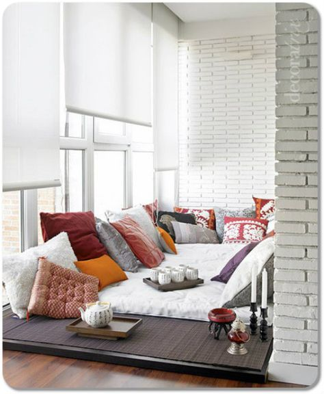 RS NOTE: Love this cosy area, especially by the window. Love comfy cushion and back support for all people to sit and eat/chat/relax/play  indian floor seating ideas - Google Search