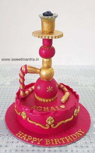Hookah Theme Customized Designer Fondant Cake With 3d Hookah For