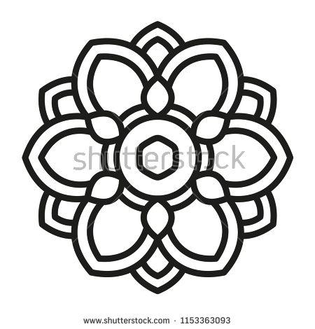 Simple Mandala Shape For Coloring Vector Mandala Floral Flower Oriental Book Page Outline Einfaches Mandala Geometrische Zeichnung Mandala Ausmalen