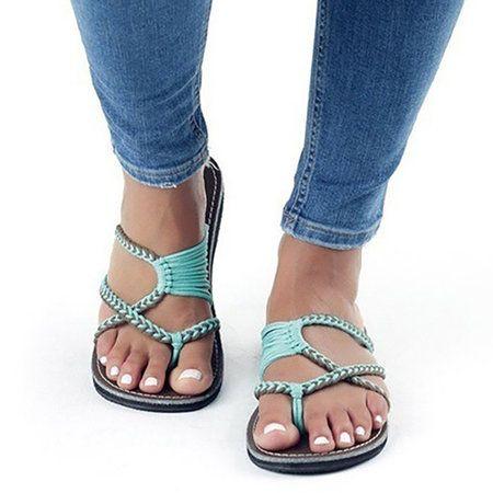 High Quality Women Summer Knitted Fabric Flip Flops Cute