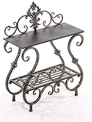 Clp Handmade Plant Stand Table Aurica Made Of Iron 2 Tier Size