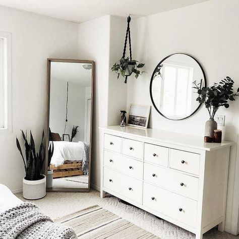 plants, dresser size, white-grey-wood-green palette