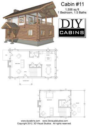 Log Cabin 11 Plans Cost 495 Tiny House Cabin House Blueprints Cabin Floor Plans