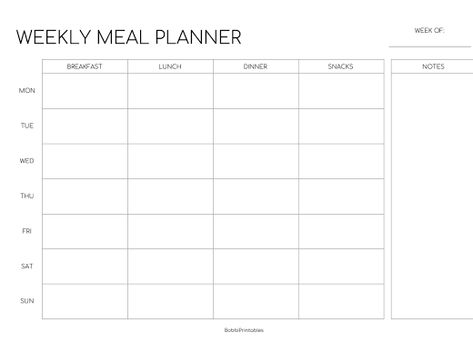 Monday Start Google Drive Weekly Meal Planner Printable Weekly Meal Planner Meal Planner Printable