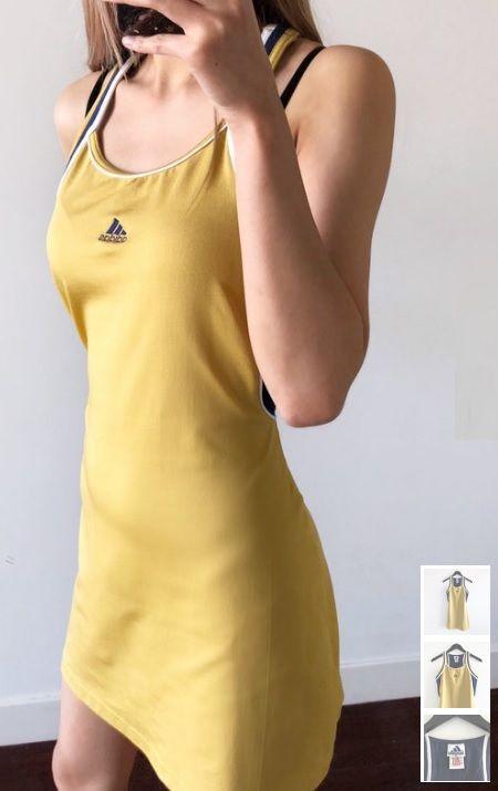 Gold Adidas Tennis Dress Anna Kournikova Sporty Spice Vintage Sport Chic Retro Athl Tennis Dress Adidas Tennis Dress Gold Adidas