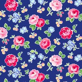 Pam Kitty Picnic in Navy with Medium Roses by StrawberryBlossomM, $5.00