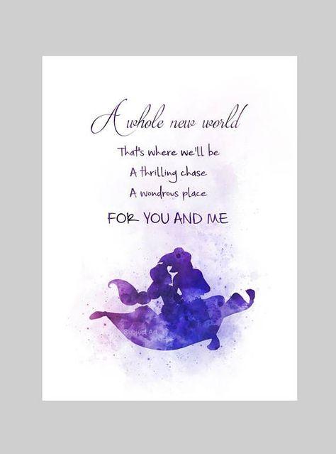 * Erhältlich in den Größen 10 x 8 Zoll---(254 x 203 mm) (A4) 11,70 x 8,27 Zoll---(297 mm x 210 mm) Zum Verkauf direkt vom Künstler Original Kunst-Druck-Aladdin und Jasmin inspiriert Zitat Illustration erstellt mit Mischtechnik und ein modernes Design Sammlerstücke Kunstdruck