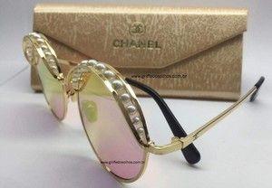 Chanel Redondo Preto Ribbon And Pearls Perolas Oculos De Sol Em