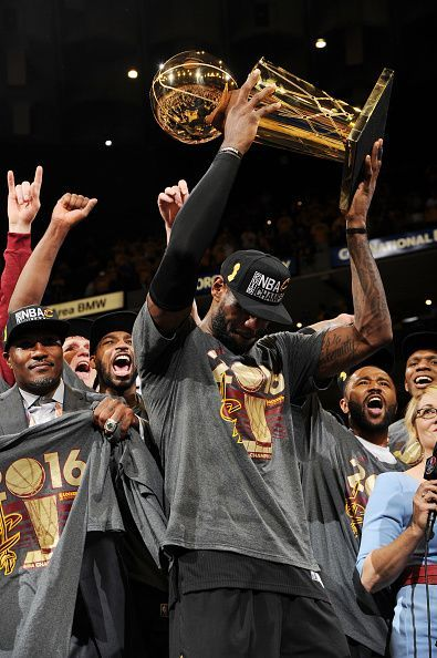 LeBron James of the Cleveland Cavaliers celebrates with the Larry