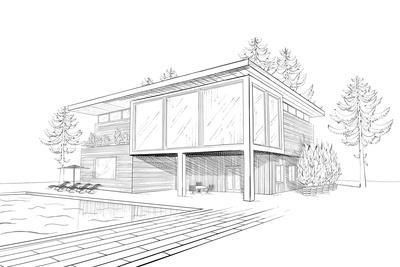 Sketch Of Modern House With Swimming Pool Art Print Alchena Art Com In 2020 House Design Drawing Dream House Sketch Swimming Pool Art