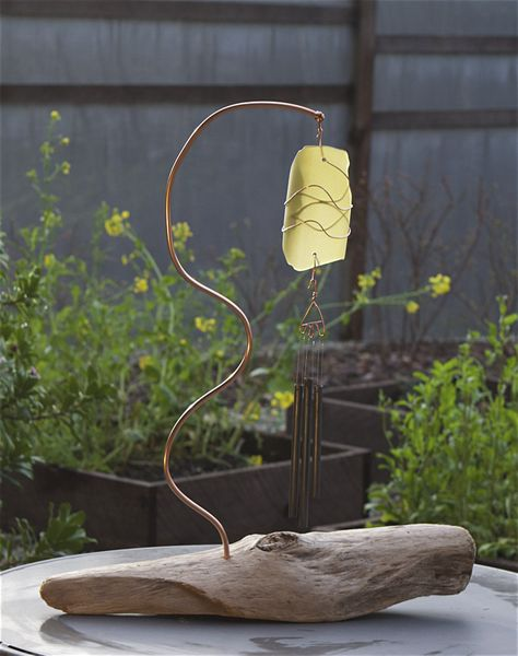Wind Chime Freestanding Driftwood Sea Glass                                                                                                                                                      More