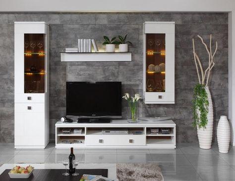 moderne weiße Wohnzimmermöbeln und graue Wandfliesen in Stein - verblendsteine wohnzimmer grau