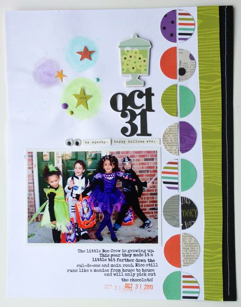 #papercraft #scrapbook #layout. Halloween Fun - Scrapbook.com - Made with the Simple Stories Frankie and Friends collection.