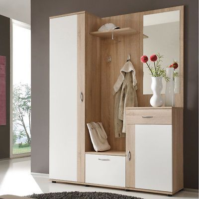 Garderobe Set Patent Flurmoebel Dielenschrank In Eiche Und Weiss