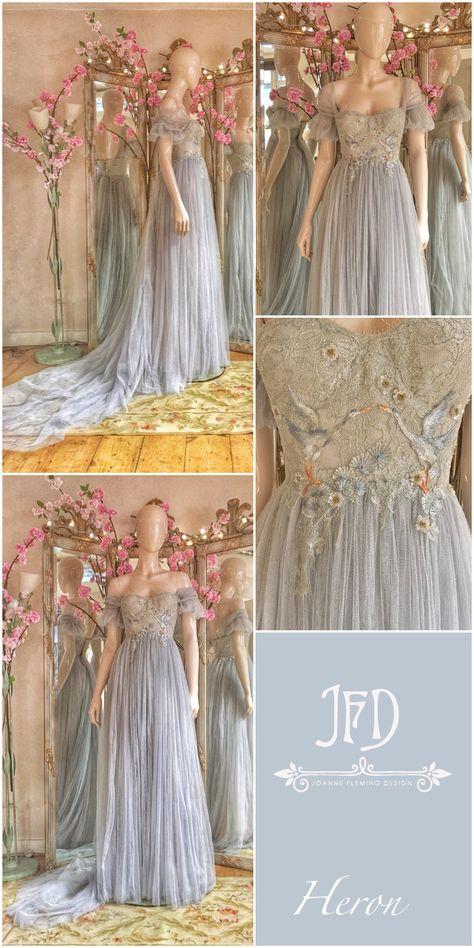 Silver Grey Tulle Wedding Dress