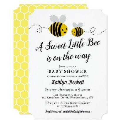 Sweet Little Honey Bee Baby Shower Invitation Zazzle Com Bee Baby Shower Invitations Honey Bee Baby Shower Bee Baby Shower Theme