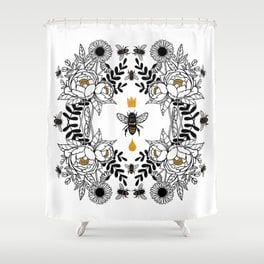 Queen Bee Shower Curtain Unique Shower Curtain Bee Shower