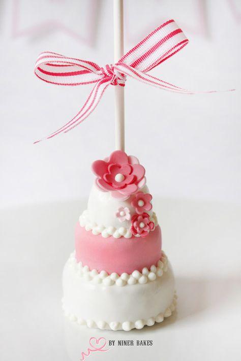 Three-tiered wedding cake cake pops (step-by-step tutorial by niner bakes). So nice!