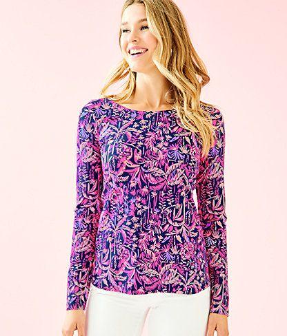 Lilly Pulitzer Sophie UPF 50 Royal Purple Cat Call Jersey Tunic Shirt Dress