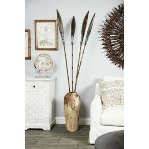 Lise Hand Painted Striped Ceramic Table Vase Tall Vase Decor