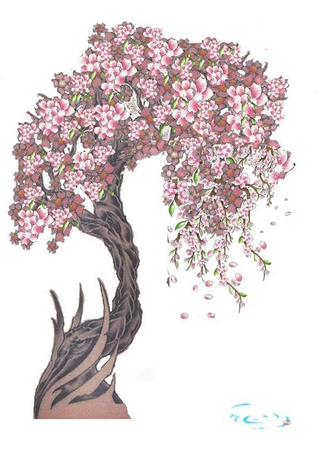 Cherry Tree Flowering Tree With Roots Botanical Etsy In 2021 Tree Illustration Roots Illustration Tree Roots