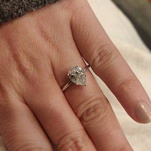 Pear Shaped Engagement Ring Set Rose Gold Natural White Topaz Wedding Set Cluster Ring Bridal Wedding Band Women Unique Anniversary 2pcs