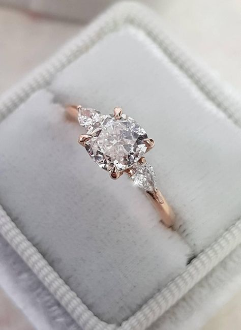Diamond Engagement Ring, 1.30 Carat Diamond Ring, Cushion Cut with 2 Pear Shape Diamonds, Engagement Ring, Rose Gold Ring, Anniversary Ring