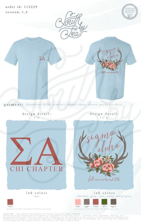 Sigma Alpha | Chi Chapter | Antler Design | Floral Design | Fall Recruitment | Bid Day | Sisterhood | South by Sea | Greek Tee Shirts | Greek Tank Tops | Custom Apparel Design | Custom Greek Apparel | Sorority Tee Shirts | Sorority Tanks | Sorority Shirt Designs