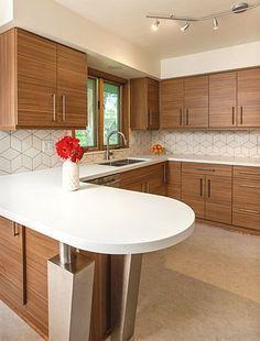 Mid Century Modern Kitchen Design With A Unique Geometric Tile Backsplash.  Such A Light