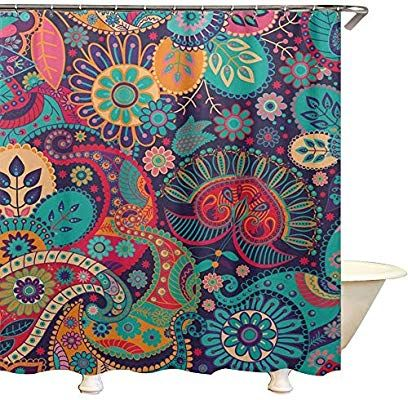 qees boho psychedelic shower curtains