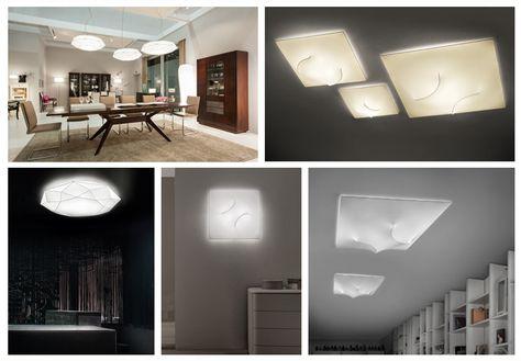 lampade della collezione Diamond nelle versioni sospensione e plafoniera/parete e la collezione di lampade da soffitto e parete In&Out;