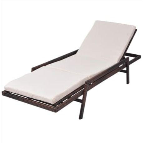 Chaise Longue Resine Brun Avec Coussin Patio Jardin Lit Jardin Bain De Soleil Terrasse Piscine En 2020 Chaise Longue Chaise Longue Piscine Bain De Soleil