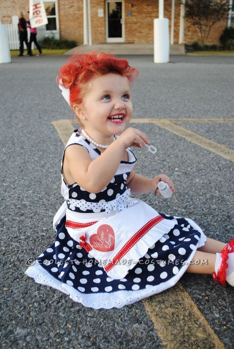 """Adorable """"I Love Lucy"""" Homemade Costume for a Toddler!… Enter Coolest Halloween Costume Contest at http://ideas.coolest-homemade-costumes.com/submit/"""