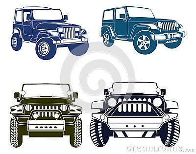 Four Vector Jeep Silhouettes Of Old And New Models Of The Wrangler
