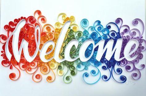 Welcome sign - paper quilling art