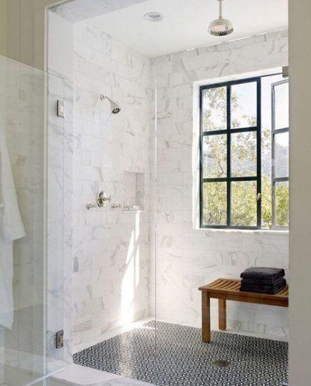 35 Ideas Bathroom Marble Shower Black White For 2019 Window In Shower Shower Remodel Cost Bathroom Remodel Master Floor and decor bathroom design