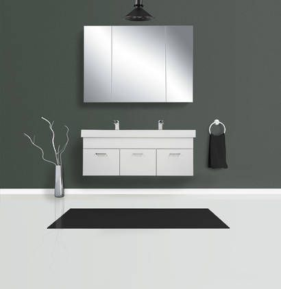 Qube 1200 Wall Hung Double Composite Vasto Basin Vanity In Gloss White Home Decor Basin Vanity