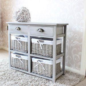 Loxley 5 Rattan Wicker Tallboy Drawer Wooden Storage Chest
