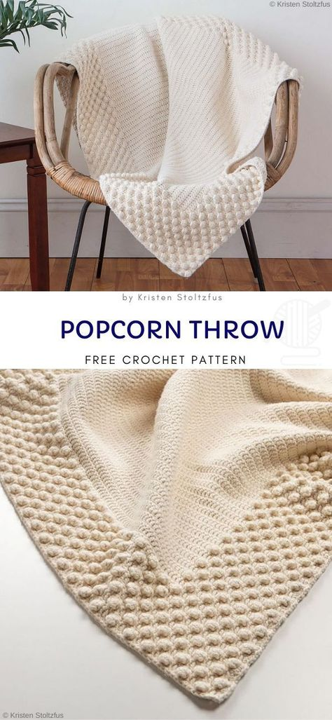 Popcorn Throw Free Crochet Pattern Popcorn throw pattern is simply elegant and eye catching. It w Popcorn Throw Free Crochet Pattern Popcorn throw pattern is simply elegant and eye catching. It w,Blanket Afghan Crochet. Crochet Pattern Free, Crochet Motifs, Crochet Stitches, Mandala Crochet, Cross Stitches, Crochet Disney, Crochet Baby, Knit Crochet, Crochet Pouch