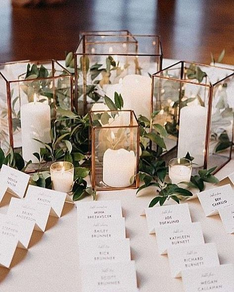 elegant wedding escort table decorations with candles