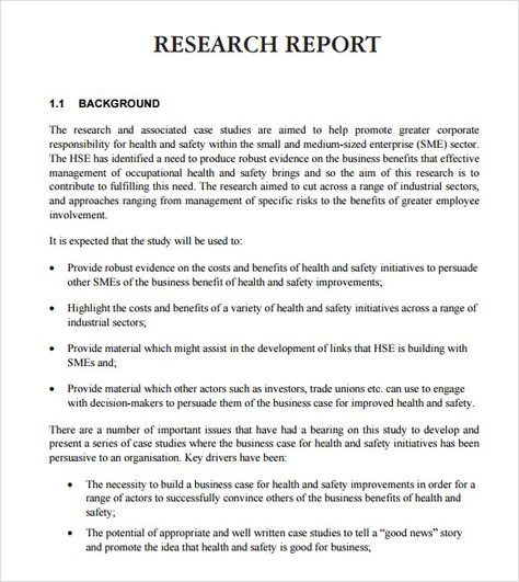 Research Report Format Report Writing Template Sample Resume