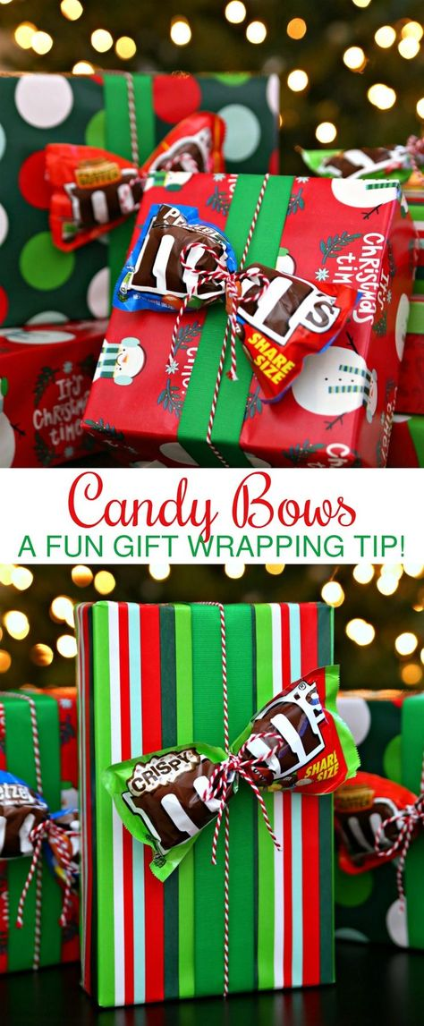 Unique Gift Ideas - 2017 Holiday Gift Guide Add Candy Bows to all your holiday gifts! Unique Gift Ideas - 2017 Holiday Gift Guide Add Candy Bows to all your holiday gifts! Noel Christmas, Christmas Wrapping, Christmas Projects, Winter Christmas, Christmas Ornaments, Candy Christmas Decorations, Christmas Quotes, Hygge Christmas, Natural Christmas